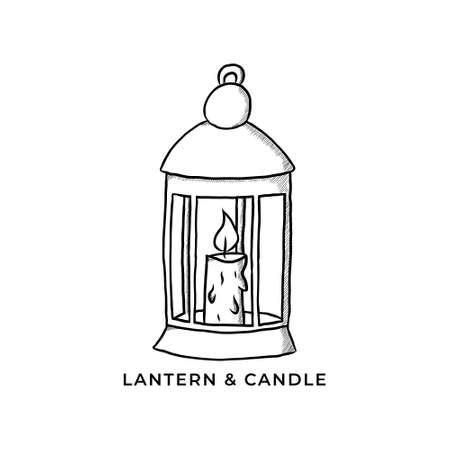 Bright Candlestick Icon Vector. Lantern And Candle  Vintage Hand Drawn. Lantern Lamp Bright Symbol Illustration