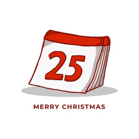 Christmas Day Symbol Illustration. Holiday Christmas  Vintage Hand Drawn. Xmas Calendar December Icon Vector 向量圖像