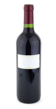 Bottle of red wine with white label photo