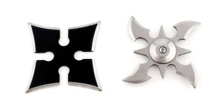 shuriken: Two shurikens, metal weapons for martial arts