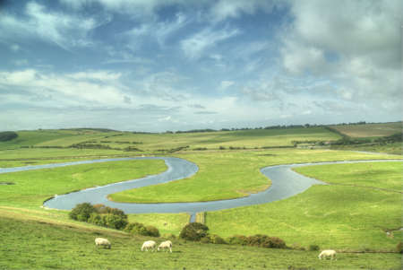meanders: The River Cuckmere, East Sussex, England Stock Photo
