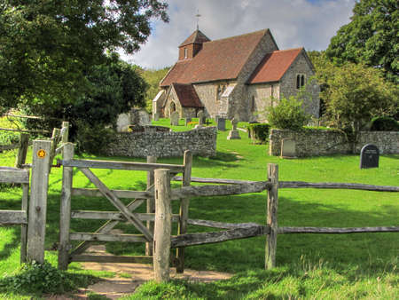 south downs: Friston Church, East Sussex, England,UK