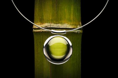 textura: Verde gioiello e bambù Archivio Fotografico