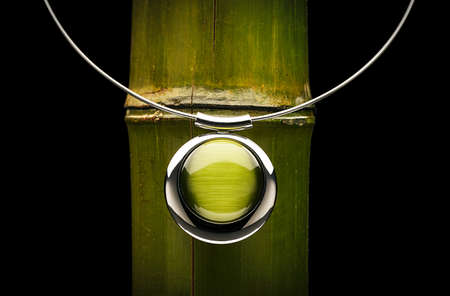 elegante: Vert bijou et bambou Banque d'images