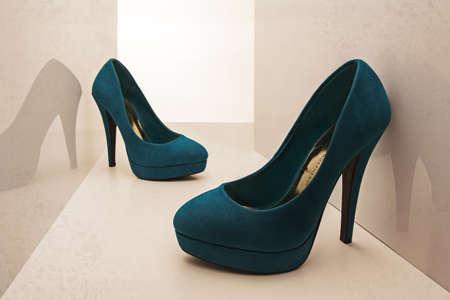 women s fashion: Women Shoes blue background abstrato Stock Photo