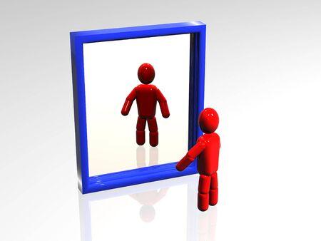 reflexion: 3d persona que mira a la reflexi�n en un espejo.
