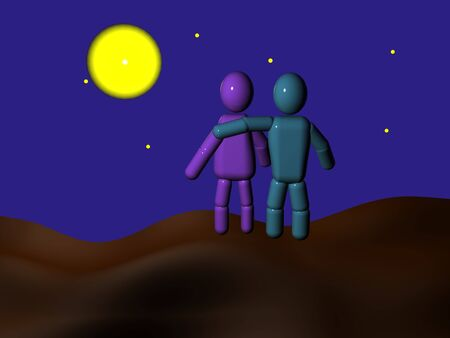 Couple of 3d persons  embracing by moonlight Stock Photo - 3487790