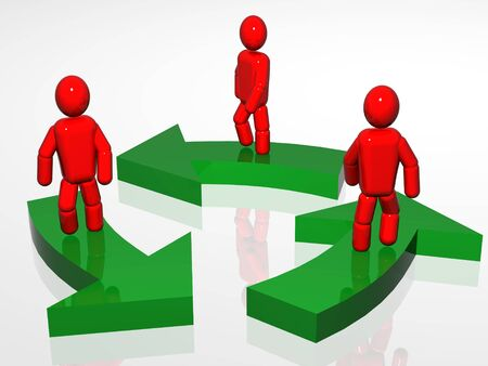 staying: 3d persons staying on the pointers. 3d render. Stock Photo