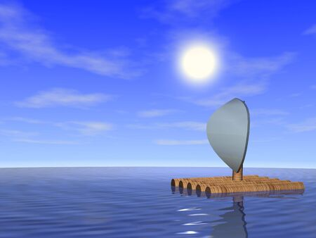 Wooden raft in the sea. 3d render.