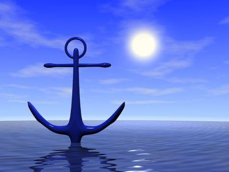 Anchor in the blue sea. 3d render Archivio Fotografico
