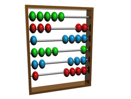 arithmetical: Traditional abacus used for counting. Isolated on white background.