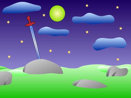 excalibur: Sword in the stone. Vector illustration. Night. Illustration