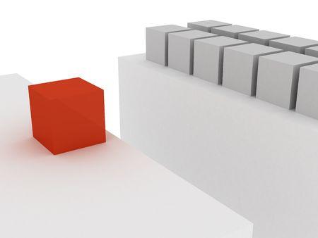 baratro: 3d cubo rosso, posto di fronte al grigio cubi vicino baratro