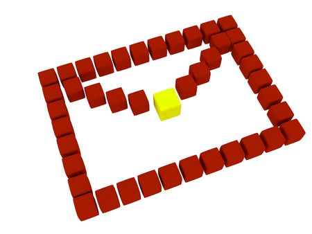 Icon of letter, which made from cubes. Isolated on white background. 3d render.