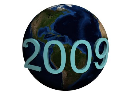 Earth and 2009. New year. 3d render. Isolated on white background. photo
