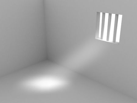 3d render of prison. Isolated on white background. Stock Photo