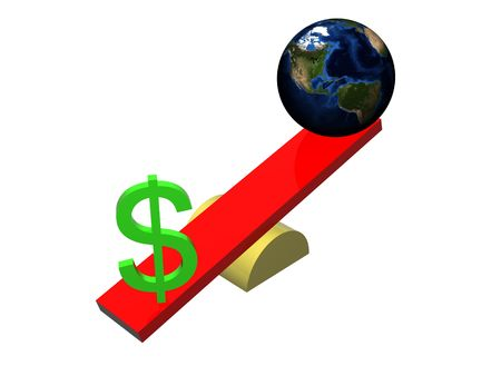 outweighing: The dollar sign outweighing the earth on a swing. Isolated on white background.