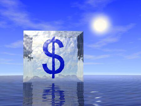 Dollar in ice with ocean and sky. Frozen deposit. 3d render.