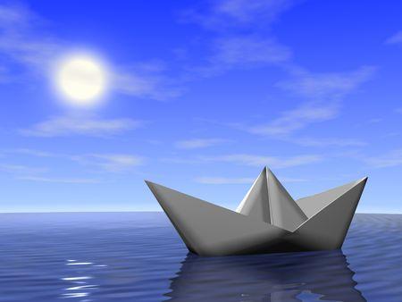 Origami boat in the sea. 3d render. Stock Photo