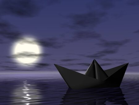Origami boat in the sea. 3d render. Night.