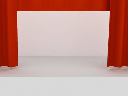 portiere: Empty stage with red curtain in expectation of perfomance Stock Photo