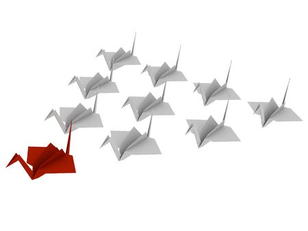 Flock of birds made from paper. Origami. 3d render. Isolated on white background. Stock Photo