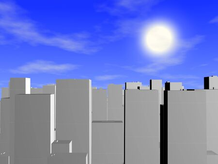 Rendered three dimension city, with the sky Stock Photo