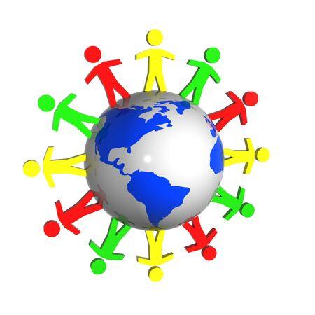 People near the earth show idea of ecology, connection, peace. Map source Url: http:www.lib.utexas.edumapsworld.html
