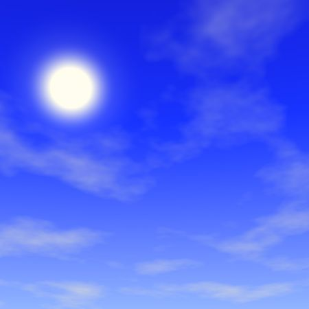 Blue sky, clouds and sun. 3d render.