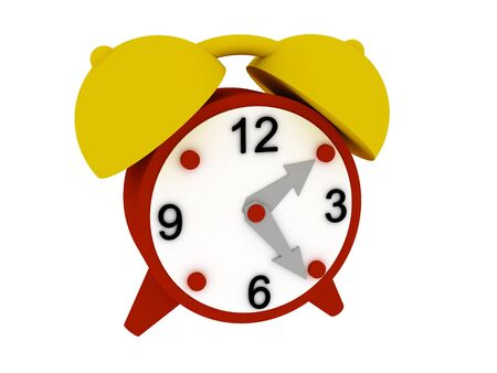 12 o'clock: Red alarm clock, isolated on white background. 3D