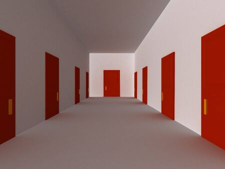 3D render of hallway with red doors. Stock Photo - 4079925