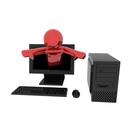 3d render of person in computer. Isolated on white background. Stock Photo