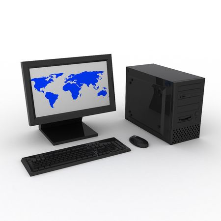 3d render of black computer with earth. Stock Photo - 4264566