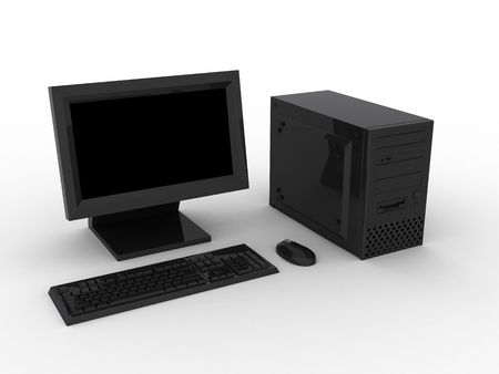 3d render of grey computer. Monitor, keyboard, mouse.