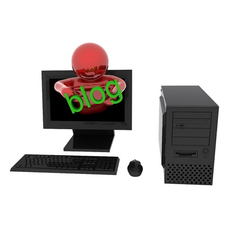 3d render of person in computer with text Blog. Isolated on white background. photo