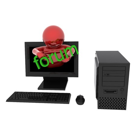 3d render of person in computer with text Forum. Isolated on white background. photo