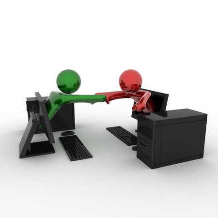 Business handshake of persons from computers. 3d render. Stock Photo