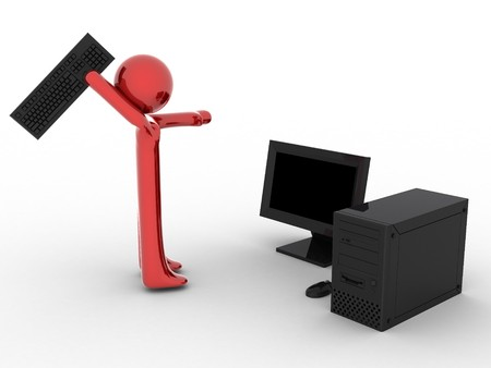 3d render of person near computer with keyboard in hand.  Stock Photo