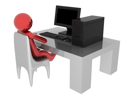 3d render of person working on computer.