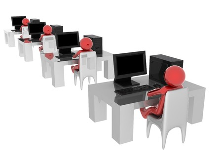 3d render of people working on computer. Stock Photo