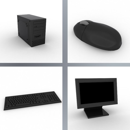3d render of black computer. Monitor, keyboard, mouse.