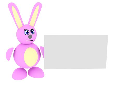 3d render of pink bunny with blank card. Isolated on white background.