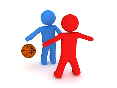 dribbling: 3d basketball players trying to dribbling with ball; Stock Photo