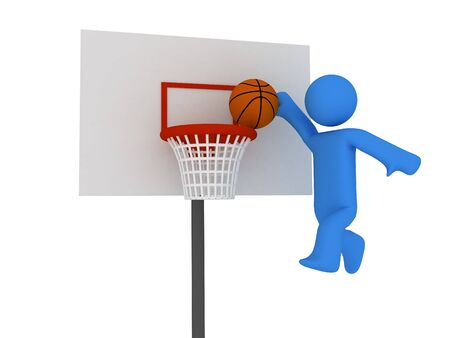 slam: 3d basketball player trying to made slam dunk