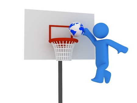 3d basketball player trying to made slam dunk Stock Photo - 4463807