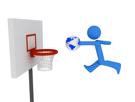 3d basketball player trying to made slam dunk Stock Photo - 4463804
