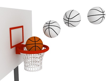 Basketball ball in basket. Isolated on white background