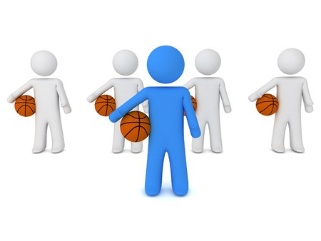 3d render of a people with ball Stock Photo