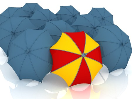 best shelter: 3d render of umbrella, which is not similar to other umbrellas. Stock Photo