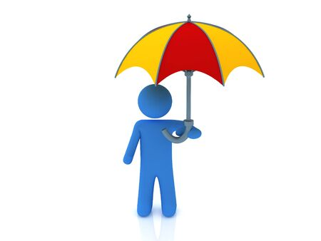 3d render of person under the umbrella.  Stock Photo
